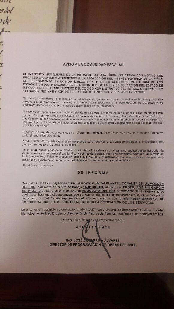 Aviso importante se reanudan las clases | Conalep Almoloya del Río